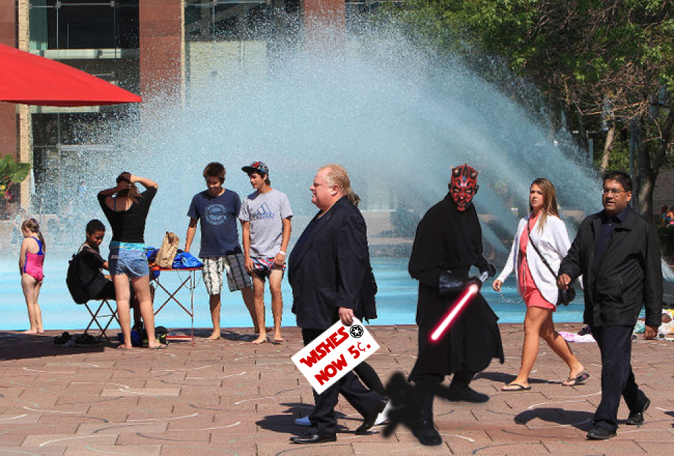 "Toronto's Mayor, Lord Ford at Edmonton's City Hall. On an earlier trip, Ford had become enamoured with Edmonton's Skating Rink by Winter, Wading Pool Fountain in the Summer. Ford visited his favourite versatile fountain with a little present. Even with tight security, Ford was overheard whispering to the fountain, ""join me and we can rule the fountains."""
