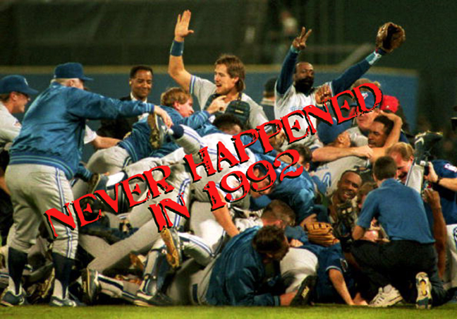 The Toronto Blue Jays defeat the Atlanta Braves in Game six of the 1992 World Series. It was the first time the World Series was won by a team outside of the United States.