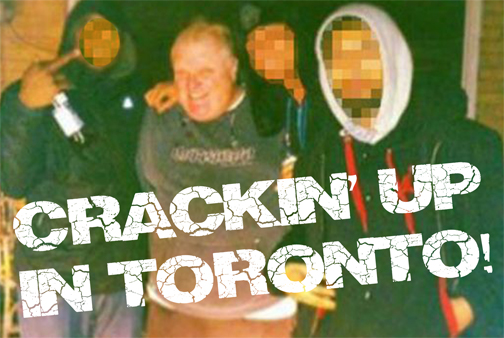 "CCT0115 - This photo was provided by the possessor of the alleged ""Crack Video"" that shows Toronto Mayor Rob Ford smoking crack in early 2013. Other than three corroborating reported viewings by twoToronto Star reporters and one from Gawker, the video has not yet surfaced. Though this photo is not taken from the video, it was allegedly taken during another ""Ford crack run"" and has become the symbolic image of the video"
