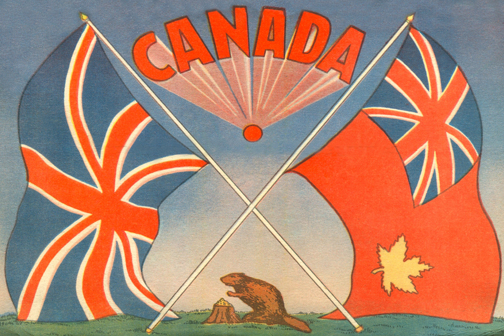CCT0121 - The official Canadian Ensign Flag with the British Union Jack flag...and a beaver. c1934. / L'indicateur Canadien officiel d'insigne avec l'indicateur britannique d'Union Jack… et un castor. c1934.