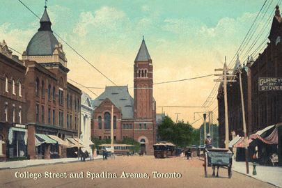 CCT0124 - Looking east along College Street toward Spadina Avenue, Toronto, Ontario c1908. / Regard est le long de la rue d'université vers l'avenue de Spadina Toronto, Ontario c1908.