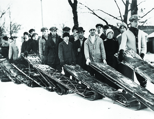CCTXM018 Toboggan enthusiasts line up for the  High Park toboggan runs.  Toronto, Ontario c1915.
