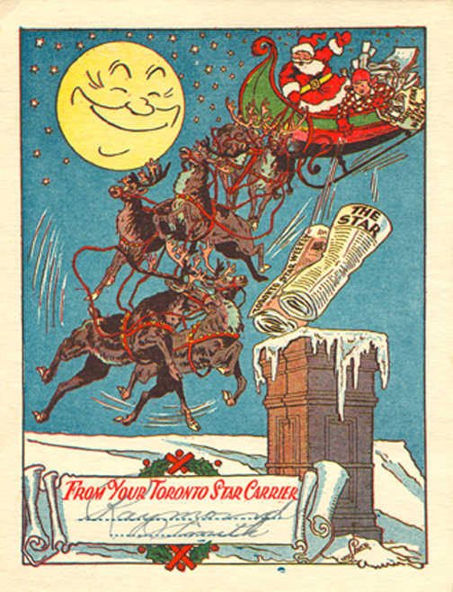 Toronto Star Paper-Boy Christmas Card c1960.