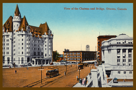 CCT0151-Looking to Rideau Street on right and the Chateau Laurier on left, from Sappers and Dufferin bridges. Ottawa, Ontario c1912