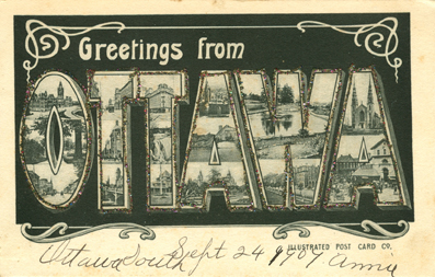 Greetings from Ottawa, Large Letter Postcard 1906.