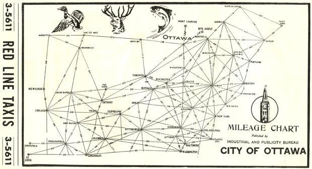 Ottawa mileage chart 1954.