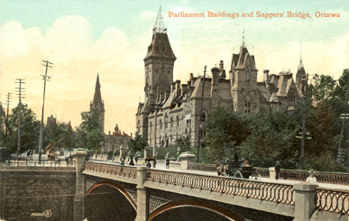 Parliament Buildings and Sappers Bridge c1900.