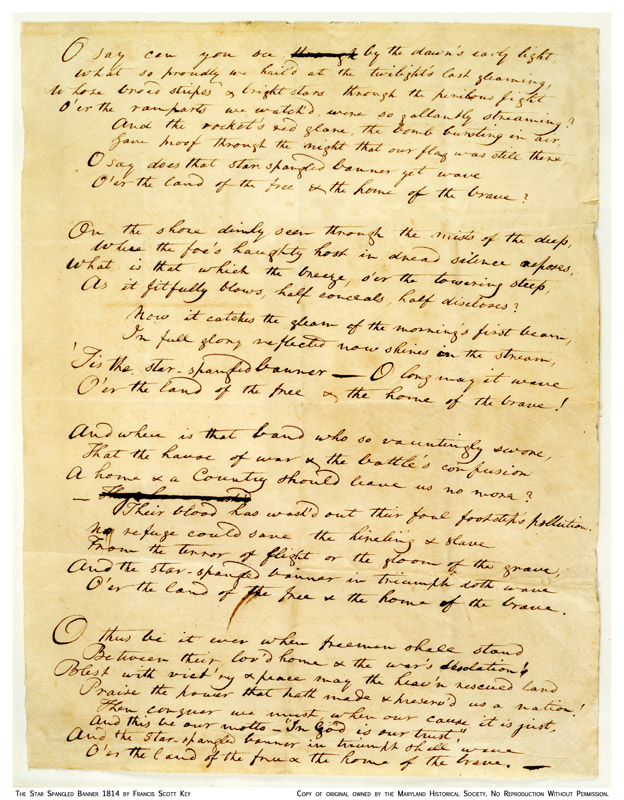 Early manuscript of the Defence of Fort McHenry by