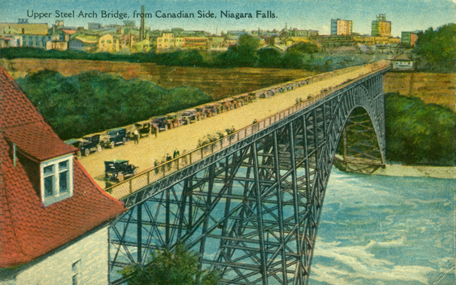 on-niagarafallsbridge-c1910